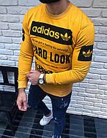Желтый мужской свитшот Adidas адидас реглан с принтом