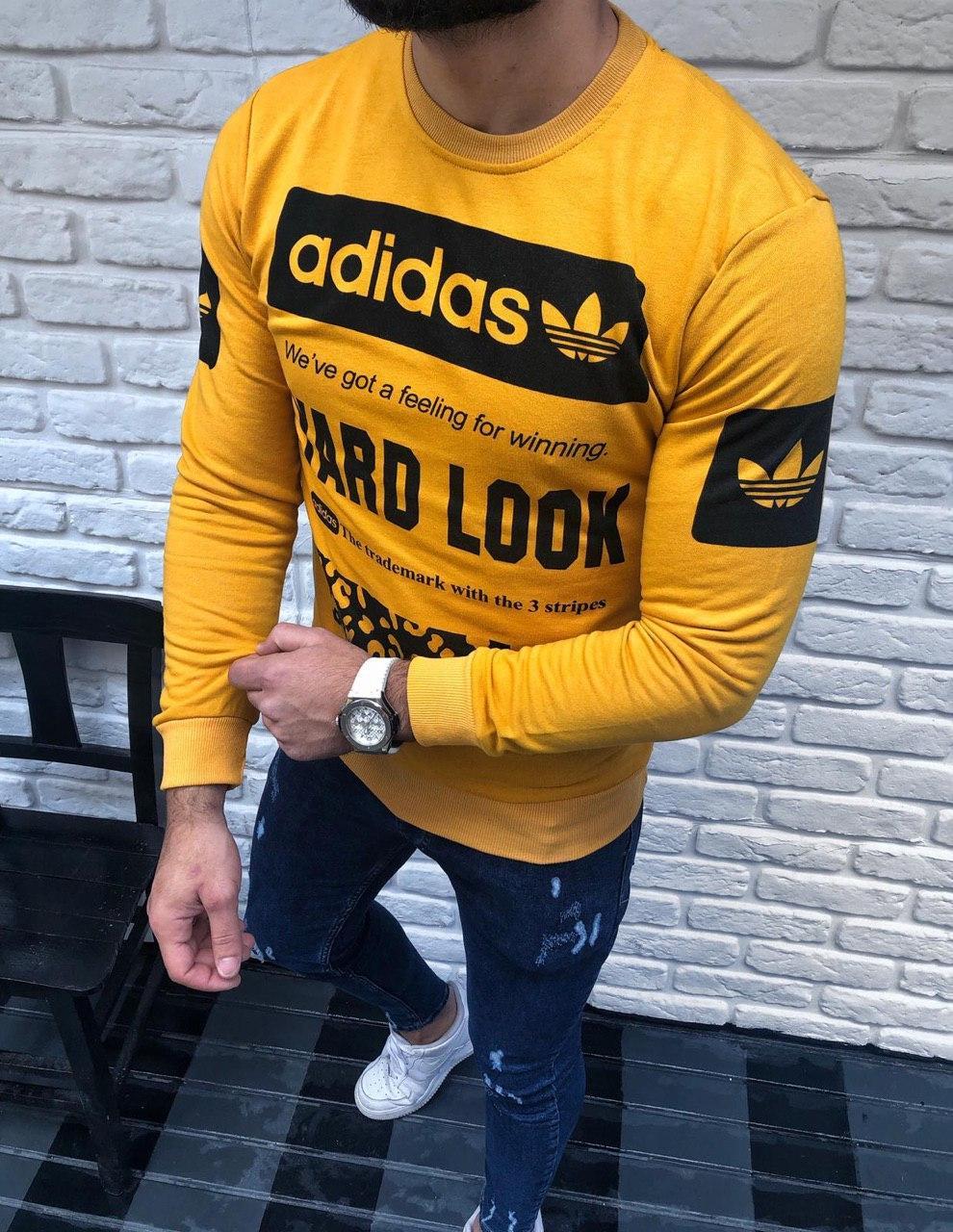 a6e6d5d93728 Желтый мужской свитшот Adidas адидас реглан с принтом