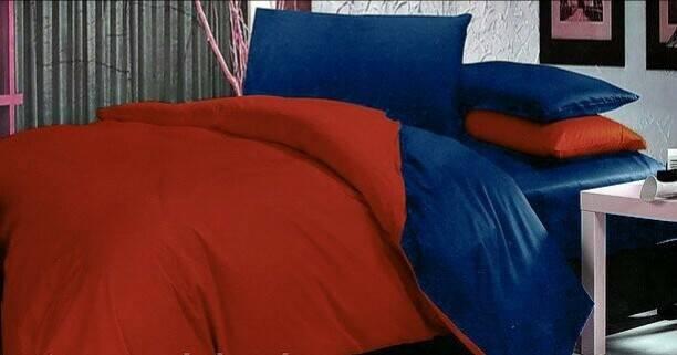 """Комплект постельного белья евро """"Красный и синий сатин"""""""