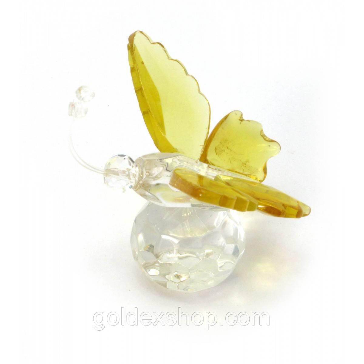 Бабочка на шаре желтая хрусталь