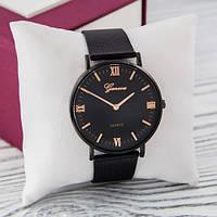 Часы Geneva металл Черные черный с розовым золотом римские реплика