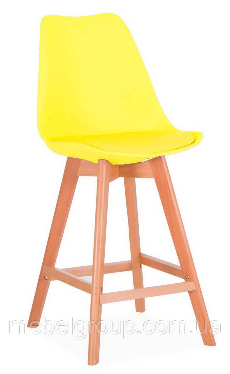 Стул полубарный Элиос с мягкой сидушкой желтый