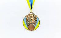 Медаль спорт d-6,5см C-4339-3 бронза UKRAINE с укр. символикой  (металл, 40g)