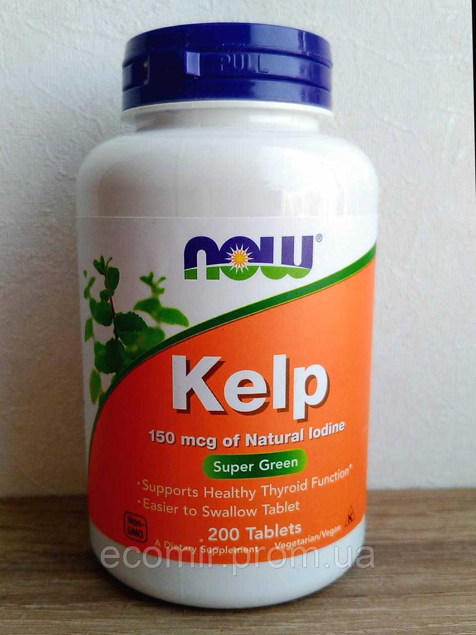 Ламинария (Бурая водоросль), Now Foods (200 таблеток)