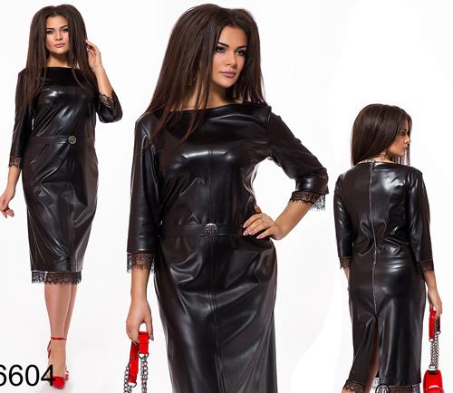 Батальное платье миди с кружевом (черный) 826604