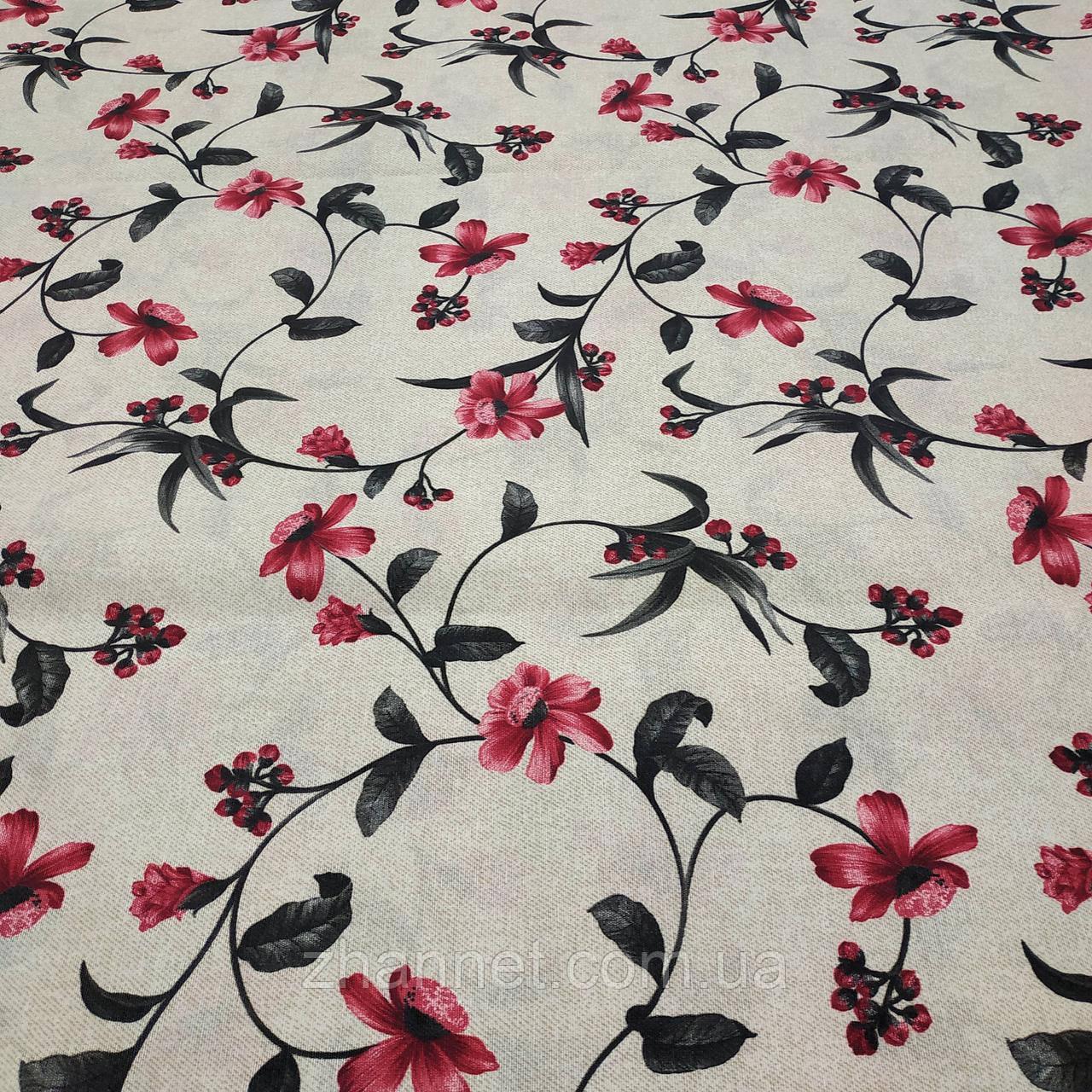 Тканина для скатертини з акриловою грунтовкою Квіти в'язь 140 см (447241)