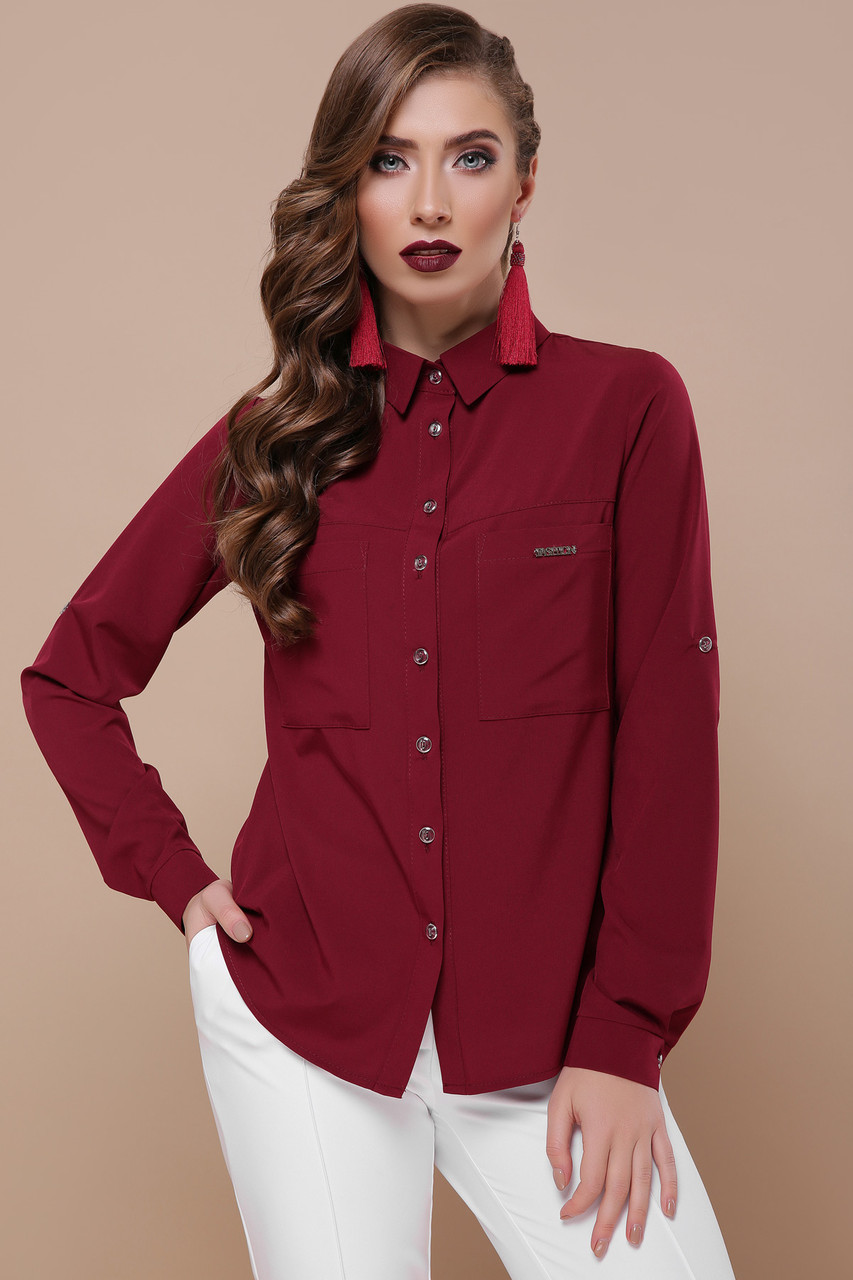 Шикарная бордовая рубашка женская 42 -50