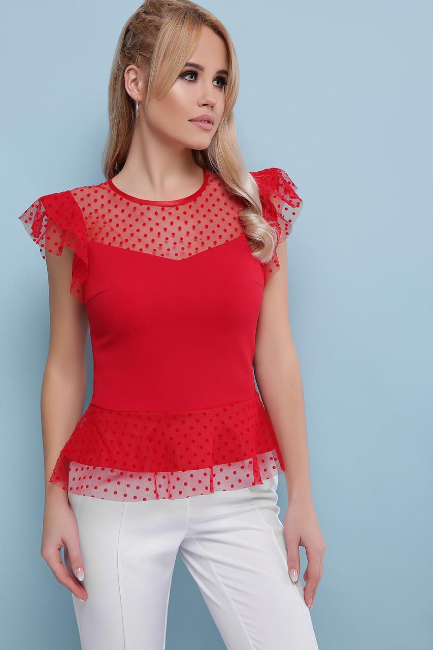 Красная блуза с коротким рукавом 42 44 46 48