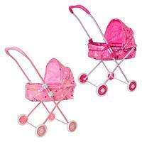 Детская коляска для куклы 0356 с металлическим каркасом: 2 цвета, размер 69х65х36см