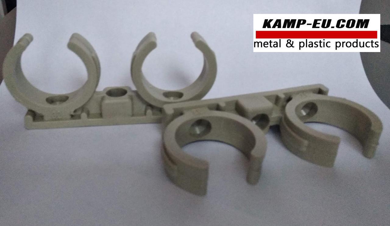 Крепление трубы 32 мм двойное пластик ( Хомут )