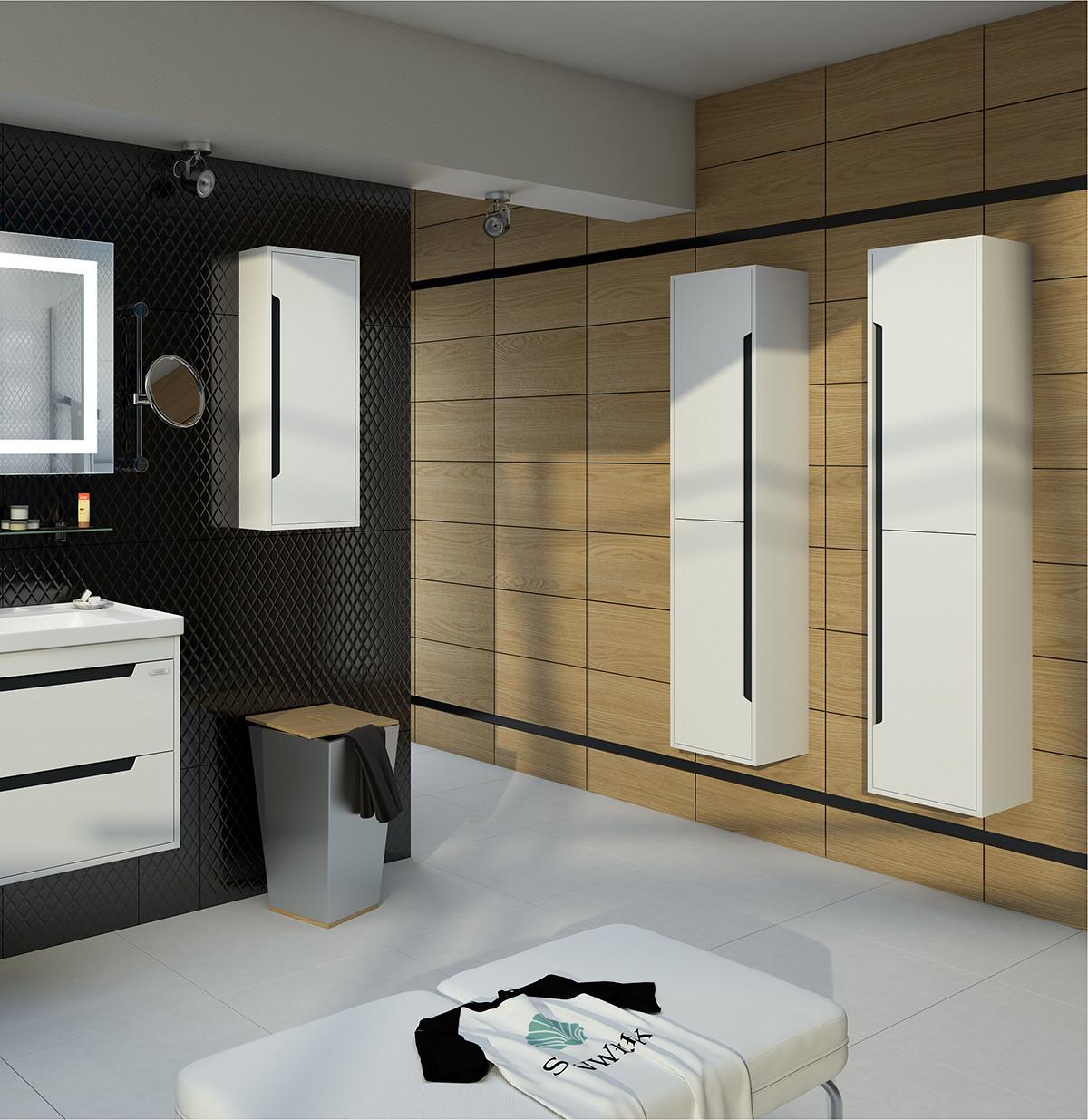 Пенал подвесной для ванной Грета Air 35 белый, правый
