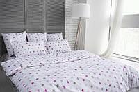 """Комплект постельного белья евро """"Ранфорс звезды серо-розовые"""", фото 1"""
