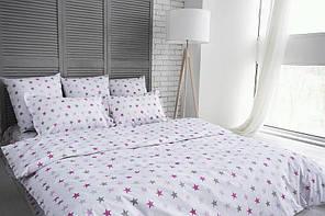 """Комплект постельного белья евро """"Ранфорс звезды серо-розовые"""""""
