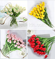 Цветы силиконовые искусственные тюльпаны 31 шт декор букет разные цвета