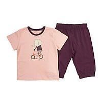 """Детская пижама с коротким рукавом для девочки """"СЛОН НА ВЕЛЕ"""" р 98, 110 см"""