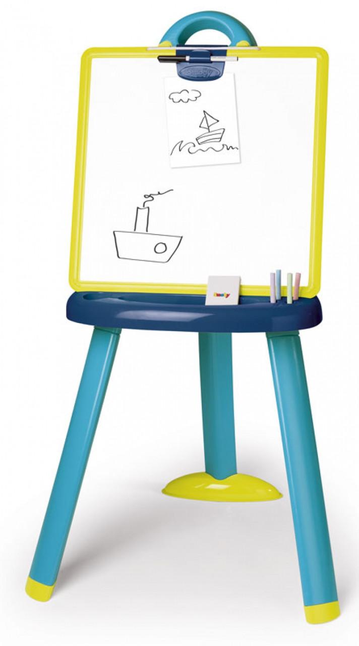 Мольберт двусторонний для рисования со съемной доской и аксессуарами сине-зеленый Smoby 410607
