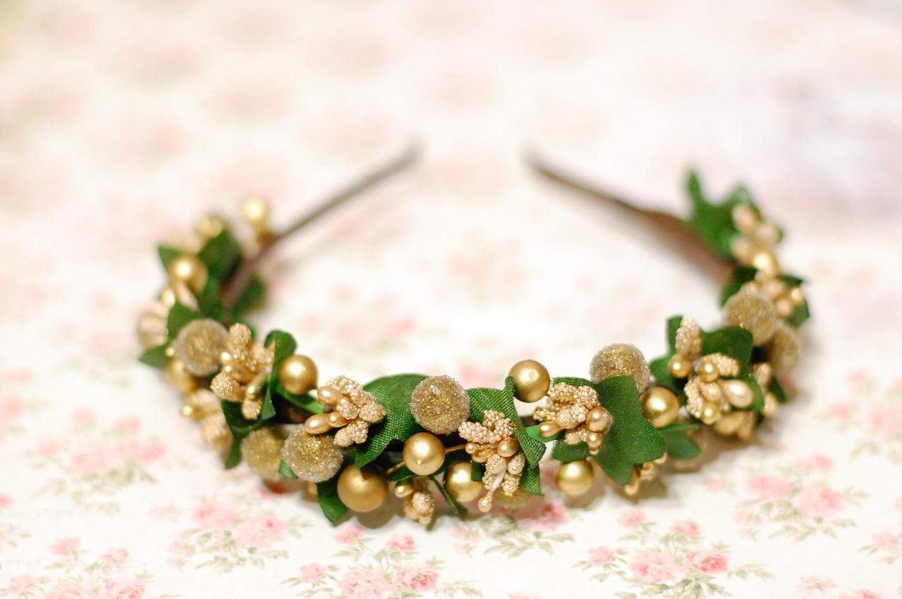 Обруч на голову с цветами / ободок для волос / украшение для волос Яркий золотой ободок