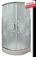 Душевая кабина полукруглая Liveno MARGO с поддоном в комплекте, стекло матовое с узором, 90 см