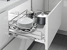 Корзина фасад 450 висувна з дотягувачем Inoxa Ellite 5202ЕY хром/білий (з кріпленням фасаду)