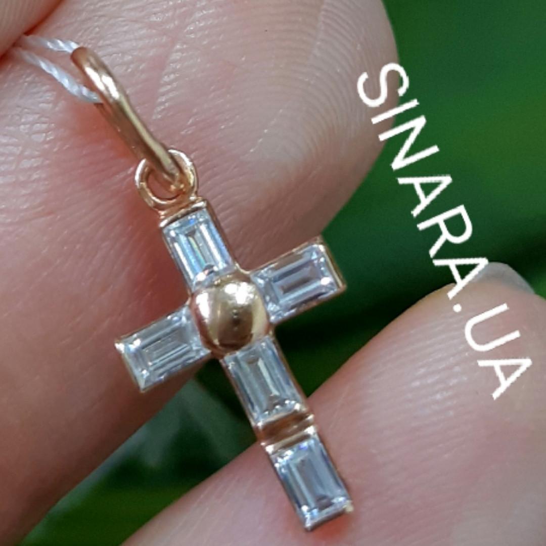 """Золотой крестик с цирконием """"багет"""" для девушки - Маленький крестик из золота с фианитами"""