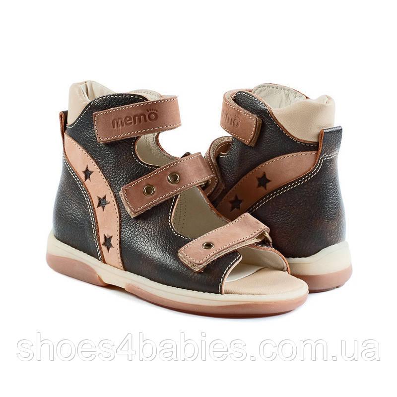 Memo Victor коричнево-бежевые - босоножки ортопедические детские