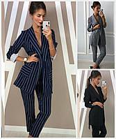 Женский костюм пиджак с брюками в полоску 17716, фото 1