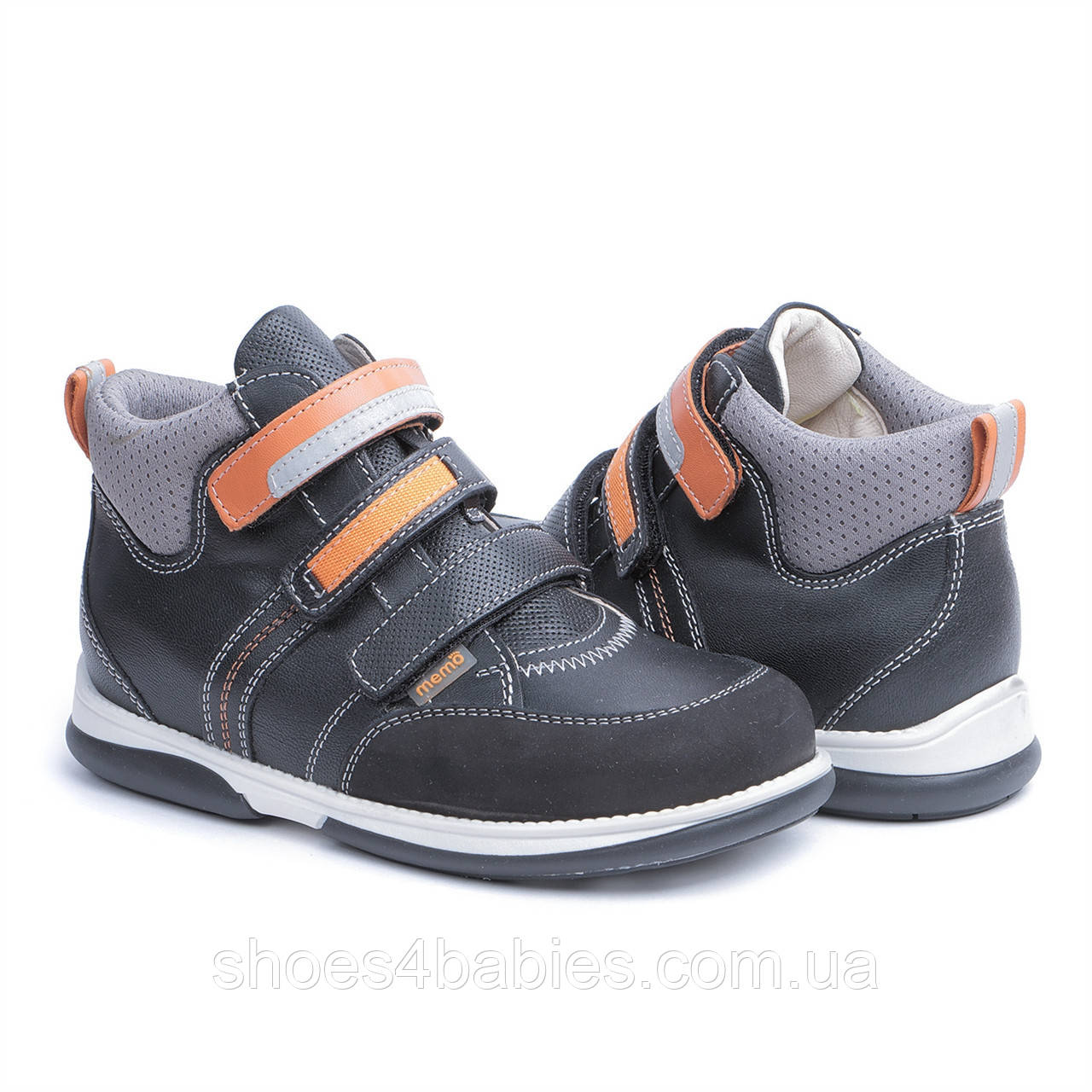Memo Polo Черно-оранжевые - Детские ортопедические кроссовки 31