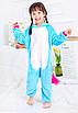 Кигуруми пижама детская единорог голубой 130 см, фото 2
