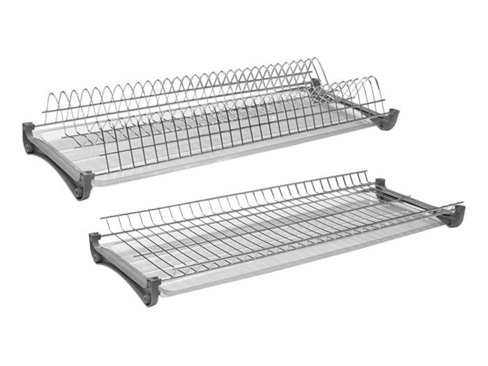 Сушка для посуду Т3 фасад 500 GIFF нержавіюча сталь (2 полиці, 2 піддона та 4 кріплення)