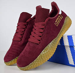 Мужские кроссовки в стиле Adidas Kamanda бордовые. Живое фото
