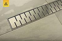 Душовий канал МСН 650 мм з решіткою Медіум, сухий сифон, горизонтальний фланець, CH-650М