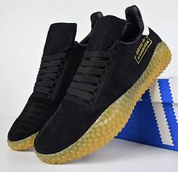 Мужские кроссовки в стиле Adidas Kamanda черные с беж. Живое фото