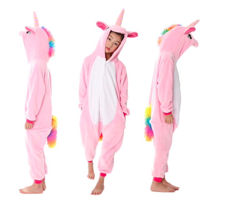 Кигуруми пижама детская единорог розовый 130 см