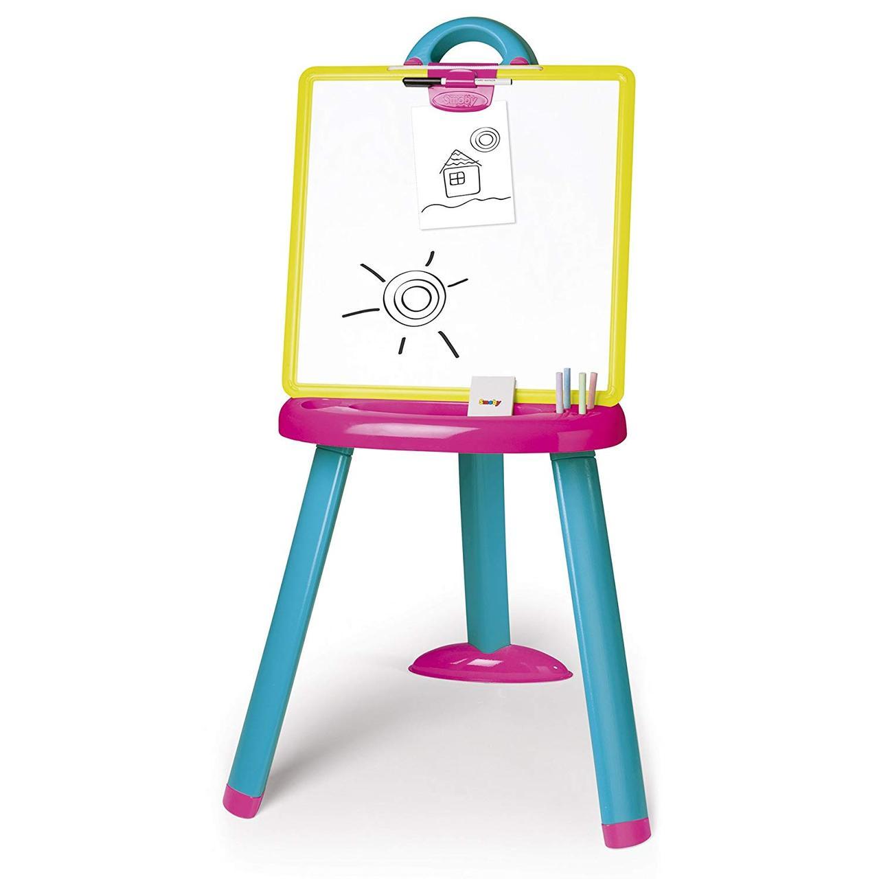 Мольберт двусторонний для рисования со съемной доской и аксессуарами розово-синий Smoby 410608