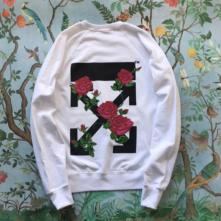 Свитшот Off-White Roses. Унисекс. Белый. Материалы: 80% Хлопок, 20% Эластан