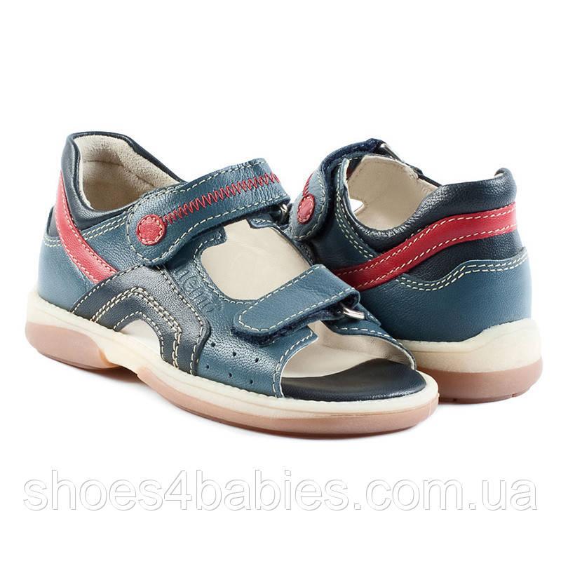 Memo Szafir сине - красные - босоножки ортопедические детские  30