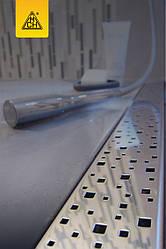 Душовий канал МСН 650 мм з решіткою Квадрати, сухий сифон DN40, h65 мм, горизонтальний фланець, CH-650S