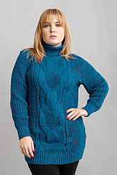 """Объёмный свитер с горлом """"Кукуруза"""" 54, 56, 58 бирюзовый"""