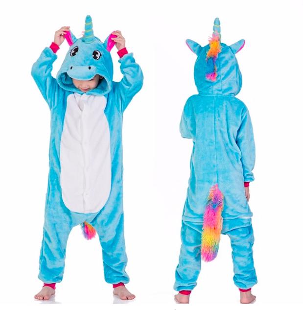 Кигуруми пижама детская единорог голубой 130 см