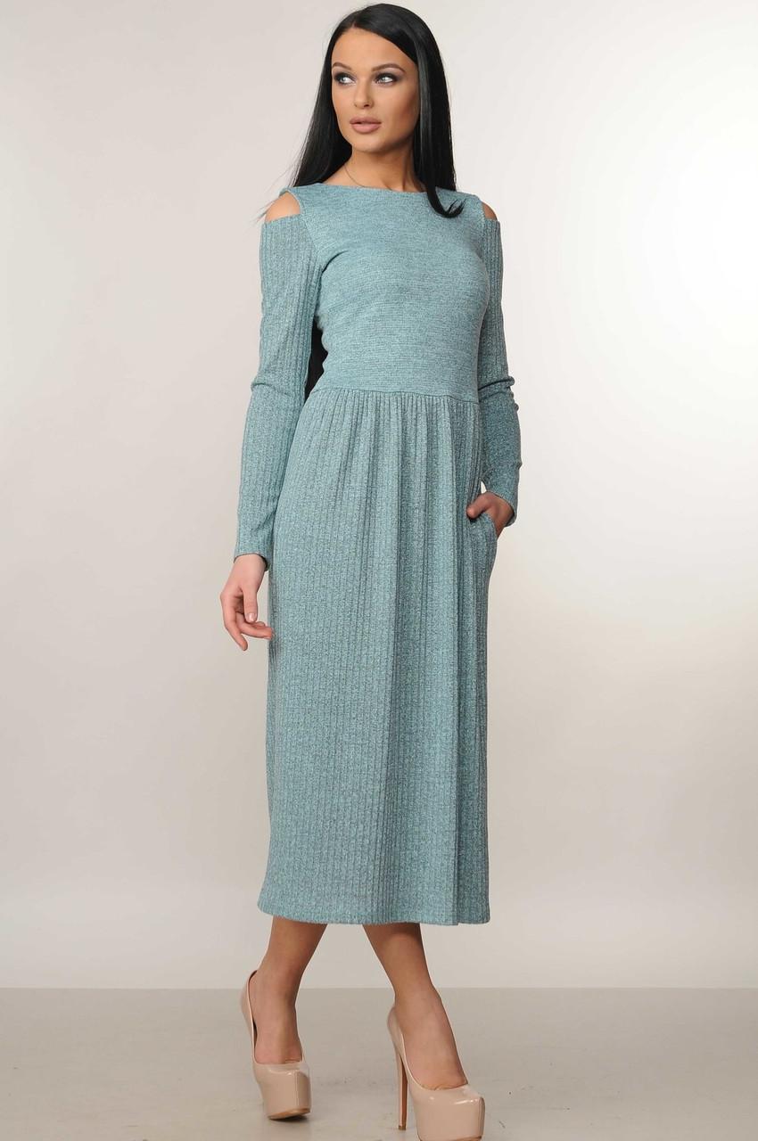 Теплое отрезное трикотажное платье Vendi (42–52р) мята
