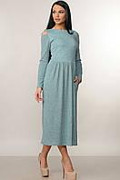 Теплое отрезное трикотажное платье Vendi (42–52р) мята, фото 1