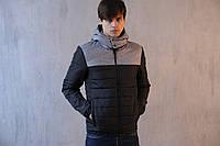 """Мужская осенняя куртка Pobedov """"Rise"""" Black/Grey"""
