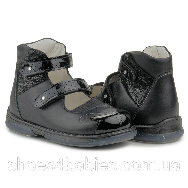 Memo Princessa 3LY Черные Ортопедические туфли для девочек 30