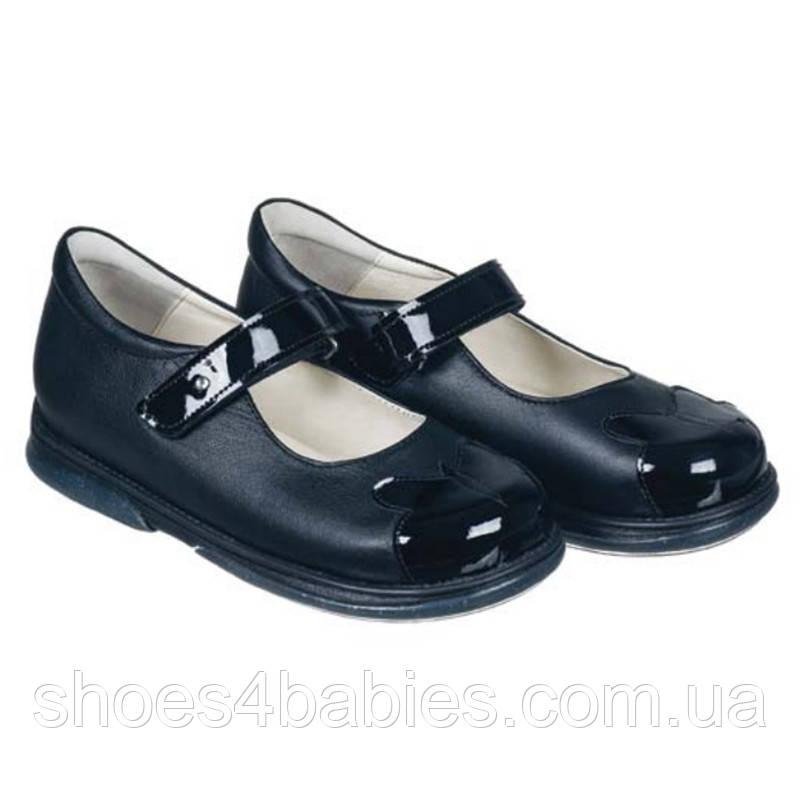 Memo Cinderella 3LA Черные с лакированными носиками. Ортопедические туфли для девочек 30