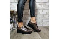 Туфли на танкетке женские демисезонные из натуральной кожи