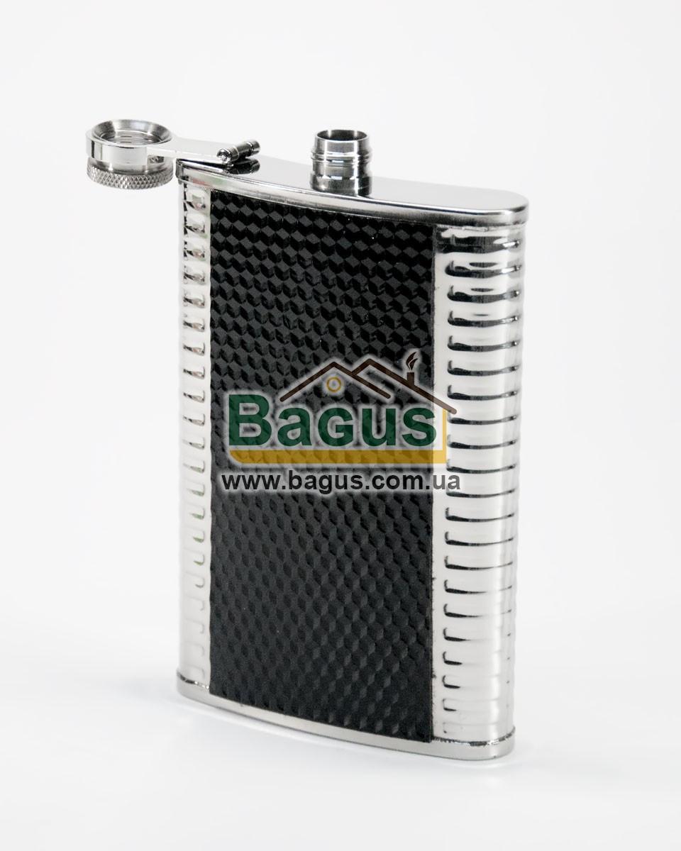 Фляга для алкогольных напитков 250мл из нержавеющей стали с черной наклейкой Dynasty DYN-10410
