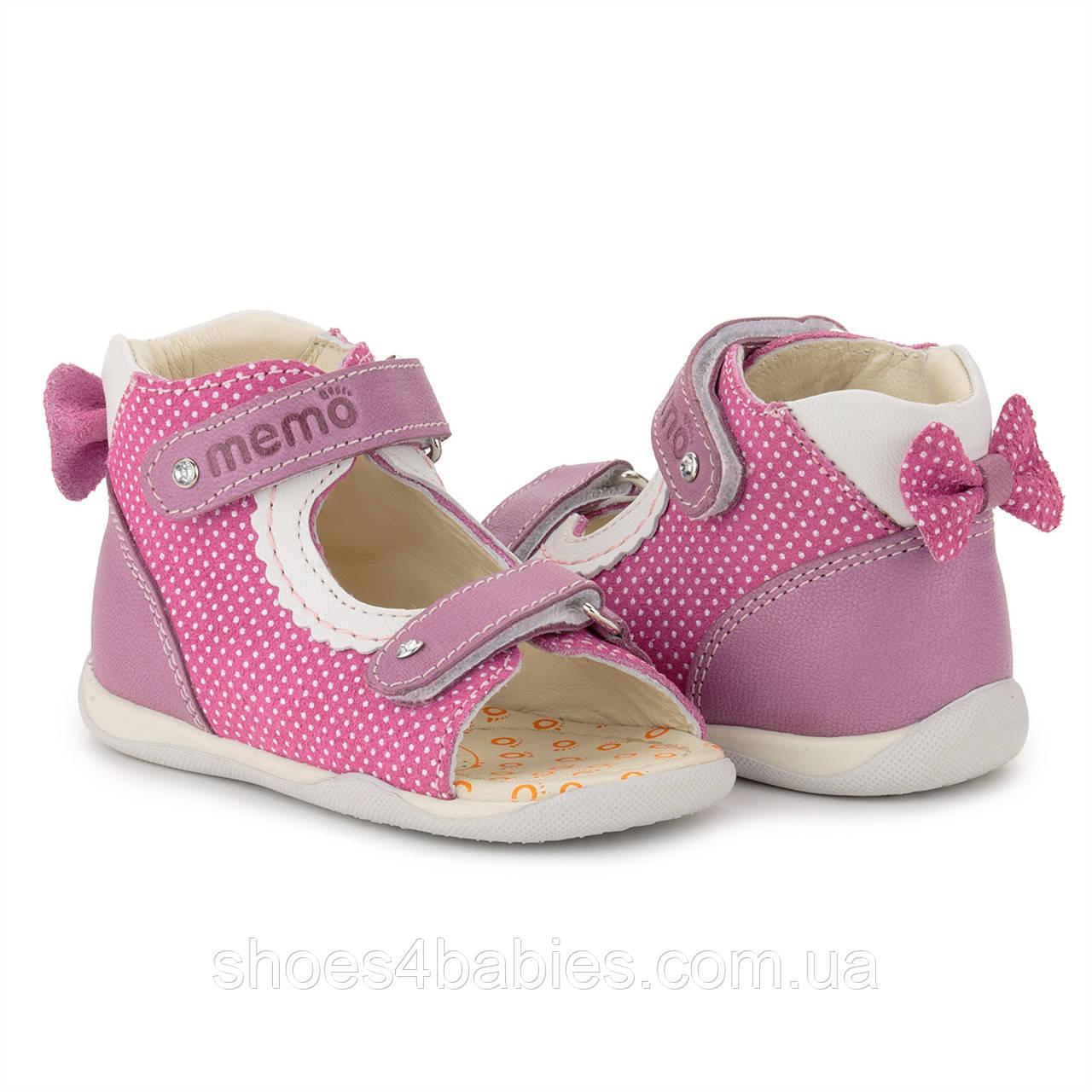 Memo Mini 1JE Рожеві Ортопедичні босоніжки для дівчаток (р. 18-21)