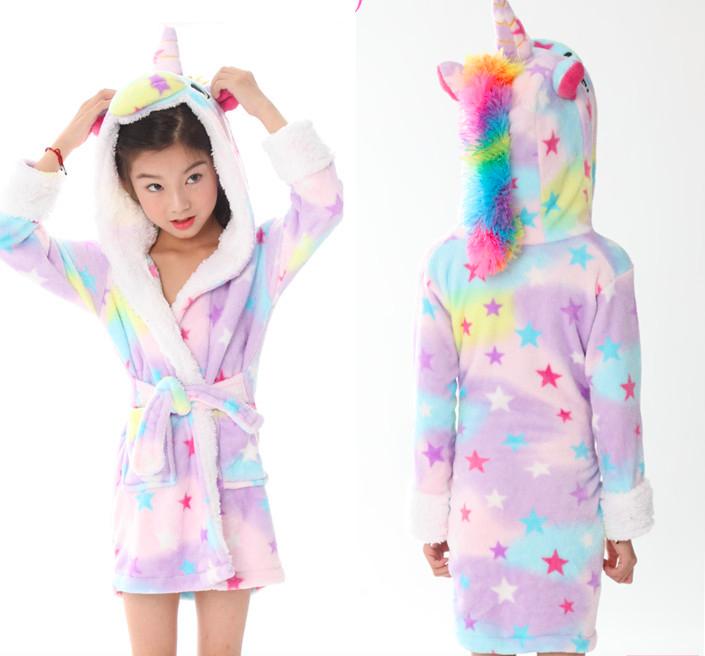 Халат детский единорог кигуруми фиолетовый для девочки 120 см