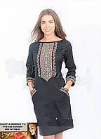 Платье лен  вышитое крестиком  42-44, 46-48, 50-52