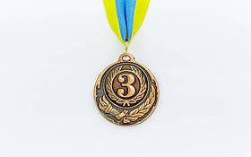 Медаль спорт d-5см C-4334-3 бронза ZING (20g, с лентой)
